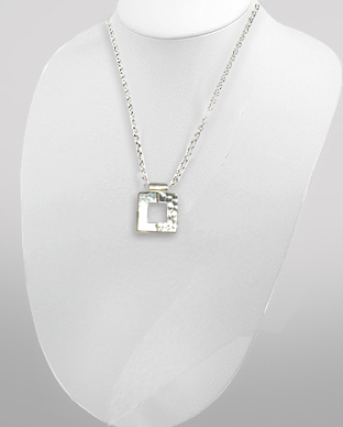 <b>Interesting silver pendant - square<b>