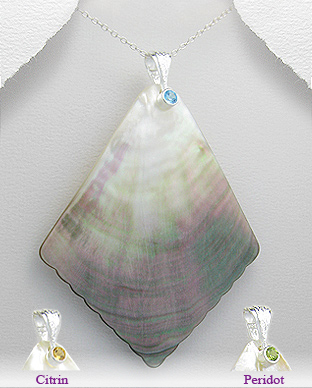 <b>Special silver, shell and gem stones pendant</b>