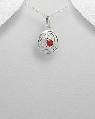 <b>Celtic silver 925 and zircon pendant-red</b>