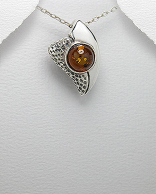 <b>Silver and baltic amber pendant</b>