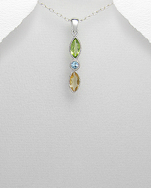 <b>Special silver - citrine, topaz and peridot  pendanant</b>