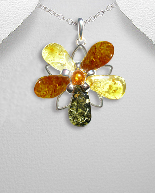 <b>Interesting silver - colored amber pendant </b>