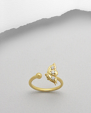<b>Gold plated silver - zircon ring - butterfly</b>
