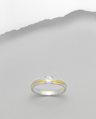 <b>Fine silver- white zircon ring</b>