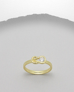 <b>Fine gold plated silver - zircon ring </b>