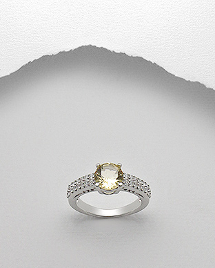 <b>Silver ring with white zircon and citrine semi gem stone</b