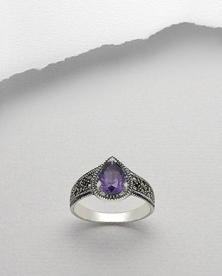 <b>Silver with marcasite and purple zircon ring</b>