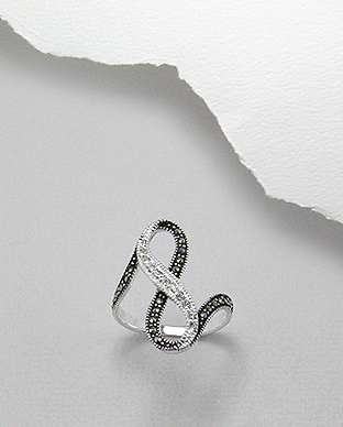 <b>Fine silver-marcasite-crystals ring</b>