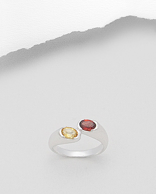<b>Special silver - citrine and garnet gem stones ring</b>