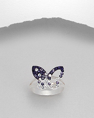 <b>Silver and crystals ring - butterfly p</b>
