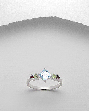 <b>Fine silver and garnet, peridot and topaz gem stones ring</b