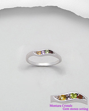 <b>Fine sterling silver and gem stones ring</b>