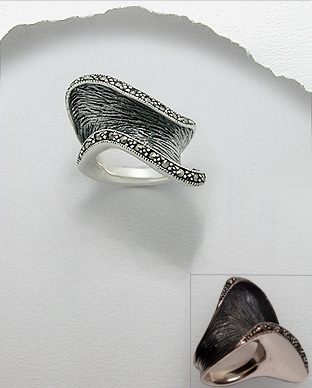 <b>Asymmetric silver and marcasite ring</b>