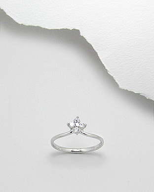 <b>Fine sterling silver - white zircon ring - flower</b>