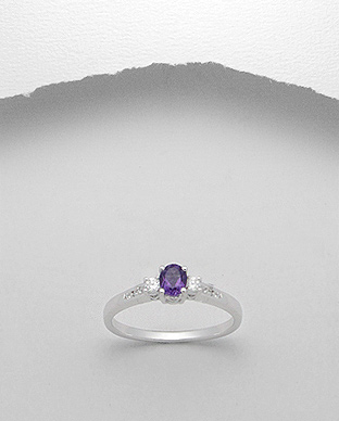 <b>Fine silver and amethyst semi gem stone ring</b>