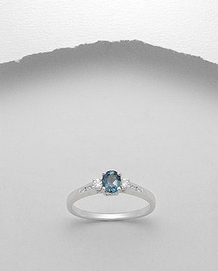 <b>Fine silver - London blue topaz gem stone ring</b>