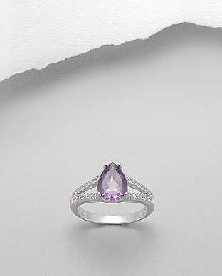 <b>Special sterling silver and amethyst semi gem stone ring</b>