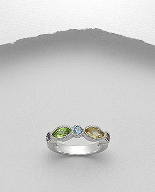 <b>Silver-amethyst, citrine, garnet, peridot and topaz ring</b>