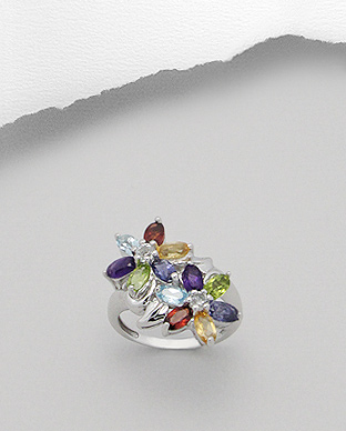 <b>Special silver and amethyst, citrine, garnet, peridot and to