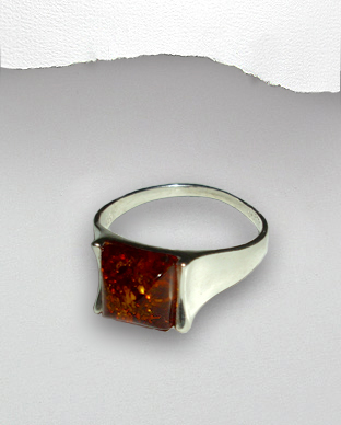<b>Silver-Baltic amber ring</b>