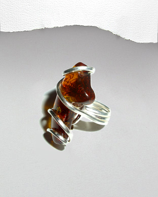 <b>Exclusive silver - Baltic amber ring</b>