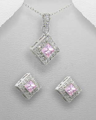 <b>Silver 925 and zirconia set - pink</b>
