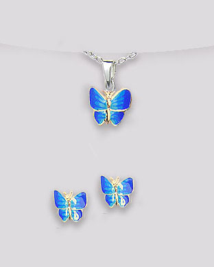 <b>Butterflies set - silver and blue enamel</b>