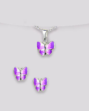 <b>Butterflies set - silver and purple enamel</b>