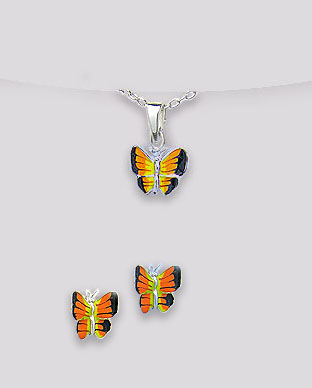 <b>Butterflies set - silver and orange - black enamel</b>