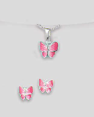 <b>Butterflies set - silver and pink enamel</b>