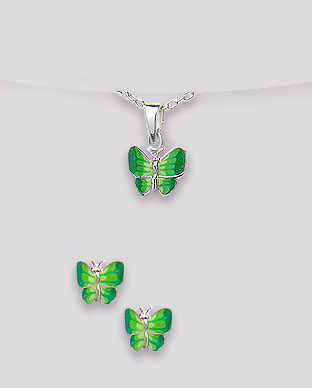 <b>Butterflies set - silver and green enamel</b>
