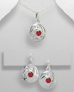 <b> Sterling silver and red zircon set</b>