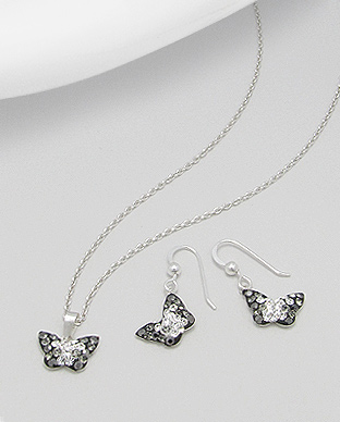 <b>Butterflies set - silver and crystals -black</b>
