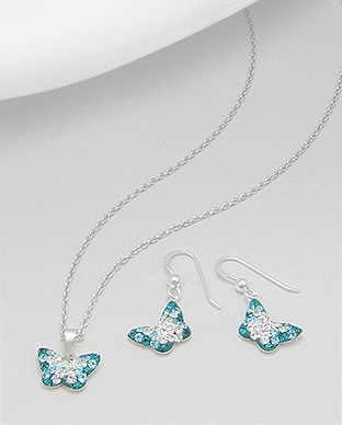 <b>Butterflies set - silver and crystals -turquoise</b>